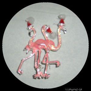 Flamingo Trio Santa Hat Brooch